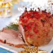 Honey and plum glazed ham for christmas — Stock Photo
