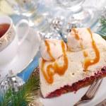 Walnut cream cake with meringue and caramel sauce for christmas — Stock Photo