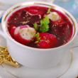 Red borscht with ravioli for christmas — Stock Photo