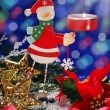 Christmas decoration with wooden candlestick — Stock Photo