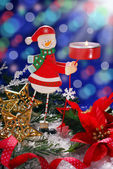 Christmas decoration with wooden candlestick — Stok fotoğraf