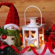 Christmas vintage lantern in snow at wooden background — Stock Photo #35263577