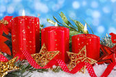 Christmas decoration with red candles — Stok fotoğraf