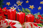 Christmas decoration with red candles — Stock fotografie
