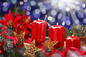 Christmas decoration with red candles — Stockfoto