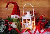 Christmas vintage lantern in snow at wooden background — 图库照片