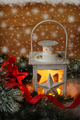 Christmas vintage lantern in snowy night — Stock Photo