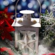 Christmas vintage lantern in dark night — Stock Photo