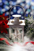 Christmas vintage lantern in dark night — Stok fotoğraf