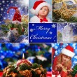Collage with christmas decorations and children in santa hat — ストック写真