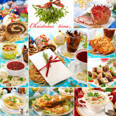 Collage with traditional polish dishes for christmas — Stock Photo