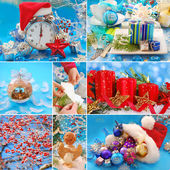 Collage with christmas decorations — Stock Photo