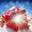 Fairy christmas gift in red box — Stock Photo
