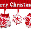 Stock Photo: Christmas symbol shapes cut from knitted pattern