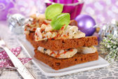 Sandwiches with herrings for christmas — Stock Photo