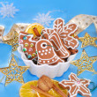 Gingerbread cookies and spices for christmas — Stock Photo