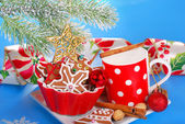 Milk and assortment of gingerbread cookies for santa — Stock Photo