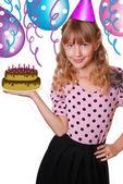 Dziewczyna i przyjęcie urodzinowe — Zdjęcie stockowe