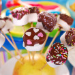 Marshmallow pops with chocolate and colorful sprinkles — Stock Photo #40109813