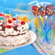 Chocolate spoons and torte for birthday party — Stock Photo #40109841