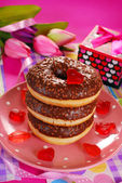 Chocolate donuts for valentine — Stock Photo