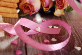 Pink ribbon in heart shape — Stock Photo