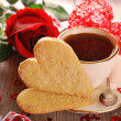 Stock Photo: Coffee and heart shaped cookies for valentine