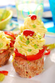 Cupcakes made from minced meat and potato puree for dinner — Stock Photo