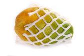 Ripe fresh papaya in foam isolated on white — Stock Photo