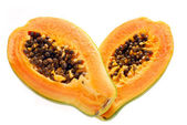 Two halves of fresh papaya isolated on white — Foto de Stock