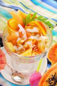 Fresh fruits salad with papaya,banana,orange,pineapple and cocon — Stok fotoğraf