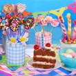 Birthday party table with torte and  sweets for kids — Stock Photo #41443679