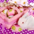 Easter basket with eggs and white bunny — Stock Photo #41702131