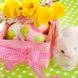 Easter basket with eggs and white bunny — Stock Photo