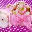 Easter basket with eggs and white bunny — Stock Photo #41702139