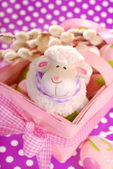 Easter basket with eggs and sheep figurine — Stock Photo