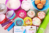 I love baking cupcakes — Stock Photo