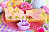Easter sandwiches with bunny for kids — Stock Photo