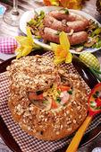 White borscht in bread for easter — Stock Photo