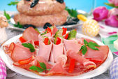 Ham slices on the plate for easter — Stock Photo