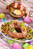 White sausage with mushrooms and leek for easter — Stock Photo