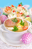 Easter white borscht with egg and sausage — Stock Photo