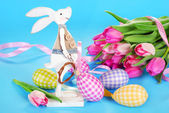 Easter decoration with wooden bunny and eggs in pastel colors — Stock Photo