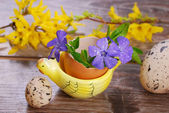 Egg shell with flowers in hen shape stand for easter — Stock Photo