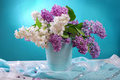 Bunch of fresh white and purple lilac — Stock Photo