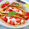Pancakes with cottage cheese and fresh strawberries — Stock Photo #46675077
