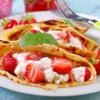 Pancakes with cottage cheese and fresh strawberries — Stock Photo #46675081