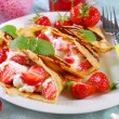 Pancakes with cottage cheese and fresh strawberries  — Stock Photo #46675099