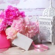 Romantic still life with peony — Stock Photo