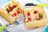 Puff pastry pie with asparagus and salmon — Stock Photo